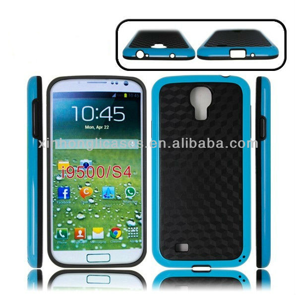 Hybrid Rugged Rubber diamond pc +tpu case cover for samsung galaxy s4