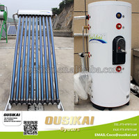 Pressure split solar water heater with heat pipe solar collector