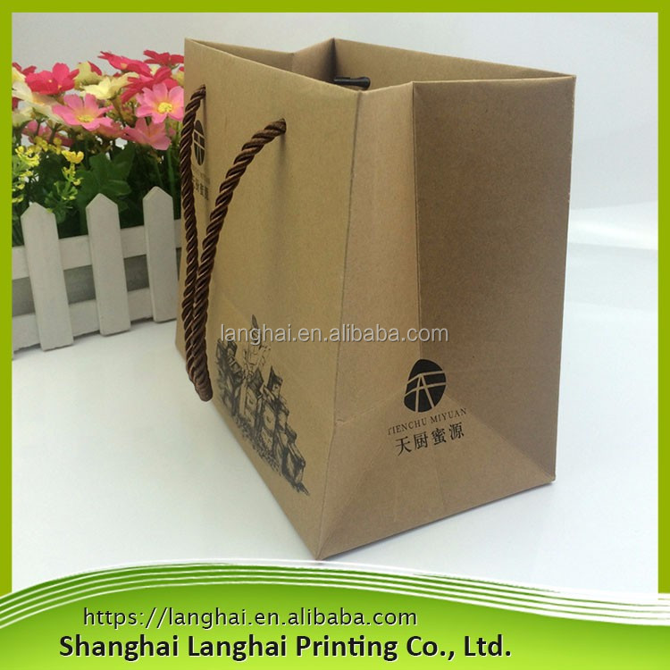 natural brown kraft paper packaging bags/ eco shopping bag for fruit vegetable food/cheap kraft paper bags prices