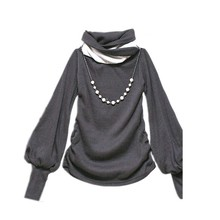 Stylish Lantern Sleeve Cotton Long Sleeve Girls High Neck t-shirt 7114