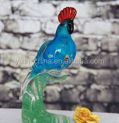 glass animal crafts; blown murano art glass parrot figurines; colorful decorative glass handicraft for gifts