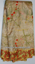 wholesale embroidery African hadcut light gold organza lace fabric with sequins
