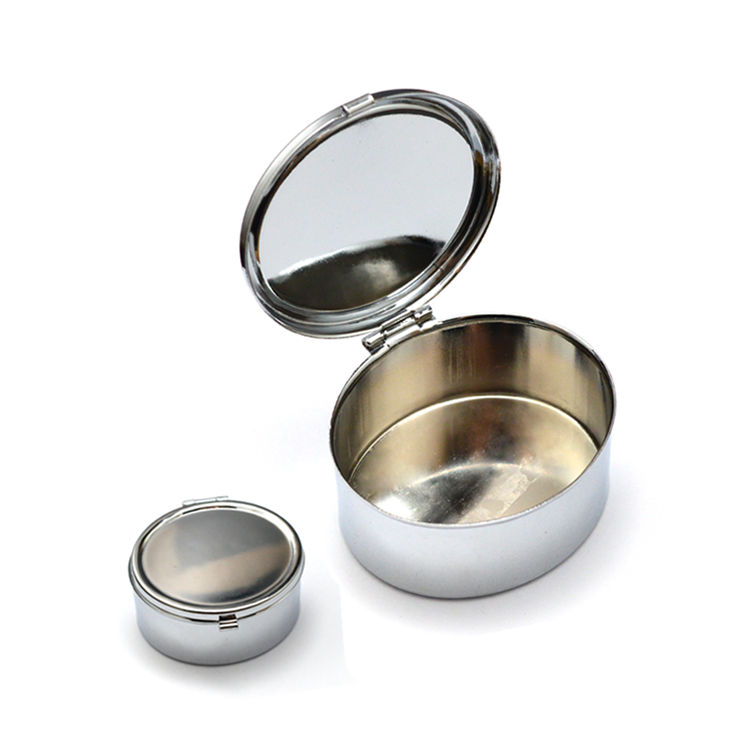 Promotional portable metallic iron pill dispenser box with mirror+lockable metal wholesale round shaped pill box