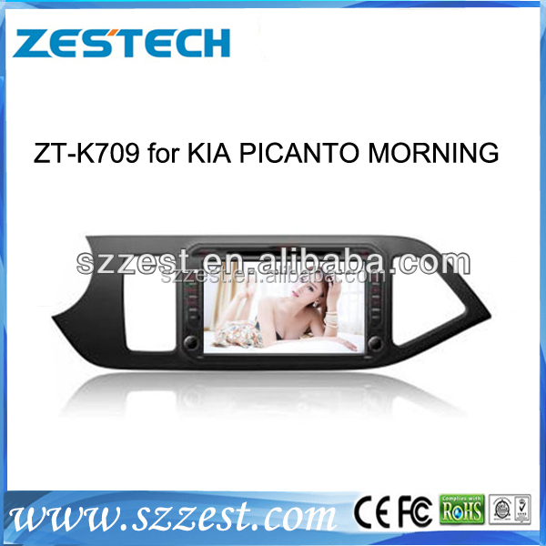 ZESTECH China Factory 2 Din Touch screen dvd gps central multimedia navigation for Kia Picanto Morning