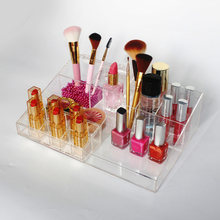 custom 9 slots clear makeup brush holder,removable 12 lipstick stand holder,pretty transparent makeup storage organiser acrylic