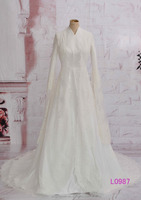 muslim long sleeves ivory satin cheap A-line wedding dresses 2015 guangzhou arabic brides L0987