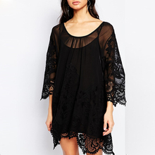 New design Black Transparent Lace Hot Sexy First Night Dress For Women