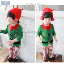 christmas decorating green color cotton winter warm baby clothes romper