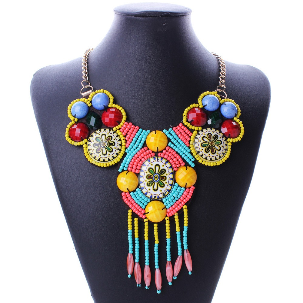 Hand Woven Bohemia Tassel Necklace Custom Fashion Necklace Jewelry N5485