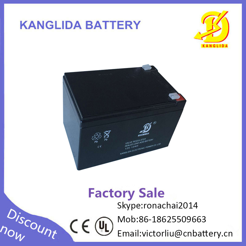 Kanglida 12v 12ah agm sealed lead acid rechargeable battery for Meal vending machine