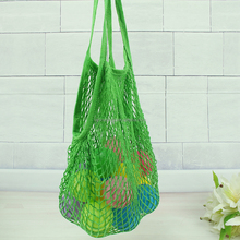 Organic Cotton Mesh Fruit Shopping Bag With Handle Net Grocery Bag