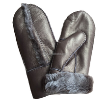 Factory direct Spanish Merino metal color Mittens,sheepskin fur leather mittens,real fur mittens