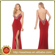 XPD05 Charming Sexy Deep V Neck Low Back Night Party Gown Spaghetti Strap Red Prom Dresses
