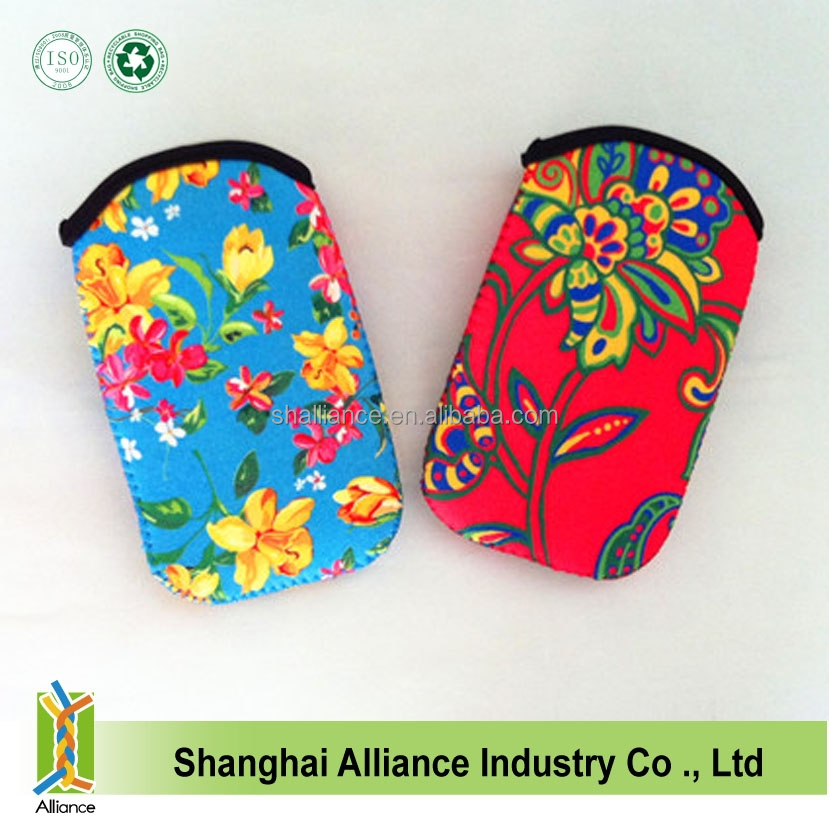Beautiful Sublimation Printing Neoprene Mobile Phone Pouch For Girls