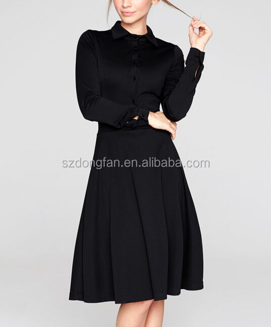 Women Fall Dress Black Collared Fit & Flare Dress