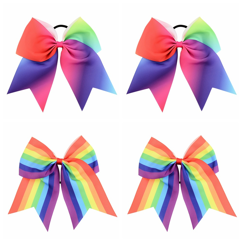 Rainbow Color New Fashion Decorative Elastic Hair tie for Girls, Hair Bow Tie F021