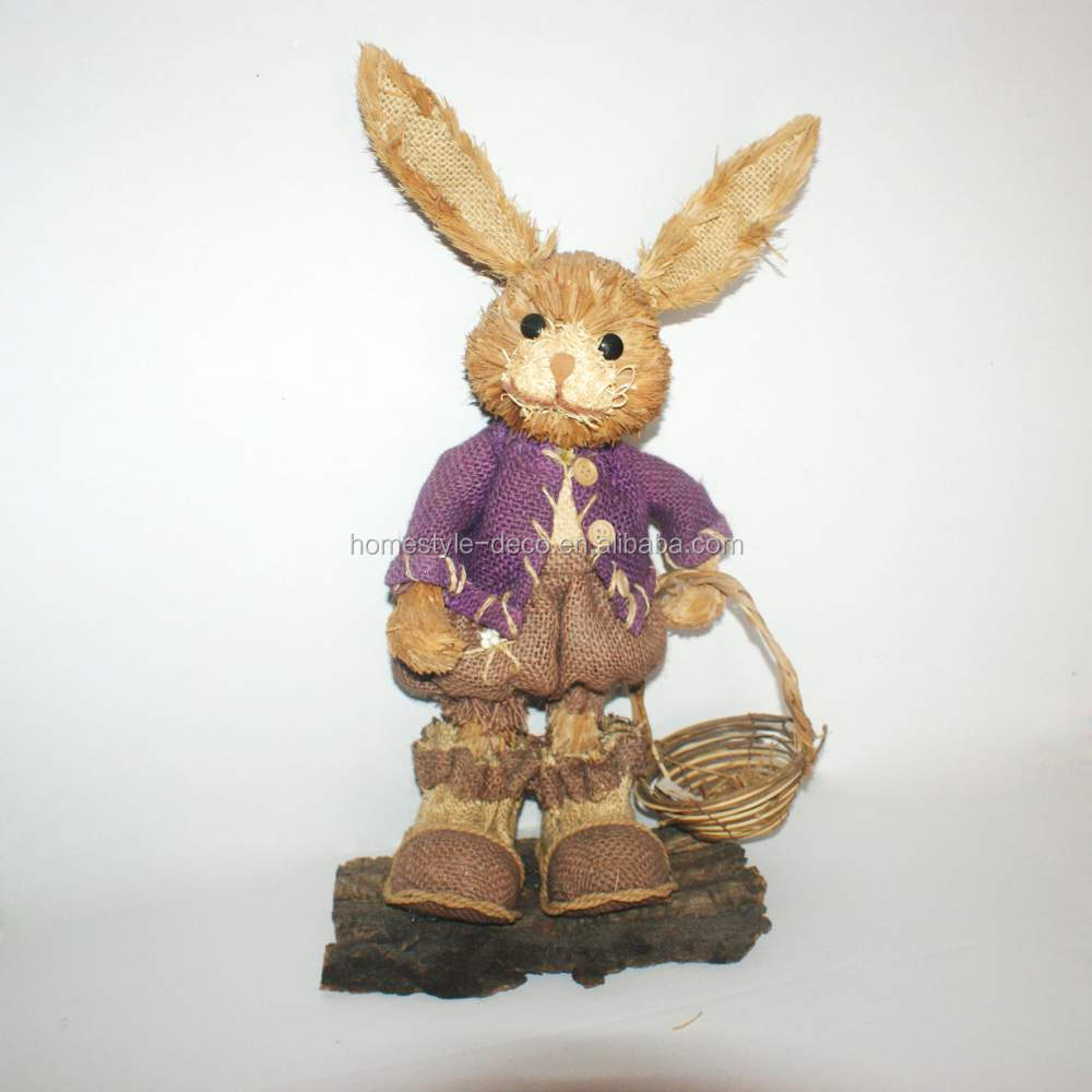 Easter decoration sisal standing rabbit boy natural easter rabbit in dress