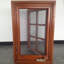 Grille Design Solid Wood Casement Windows With Tempered Glasses American crank timber aluminium casement window
