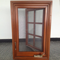 Solid Wood aluminium With Tempered Glass American crank timber 18 wide Grille Design casement window