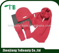 Winter Soft Cable Knit Beanie Skull Hat Long Scarf Gloves Set