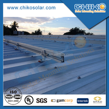 Solar panel module mounting for tin roof