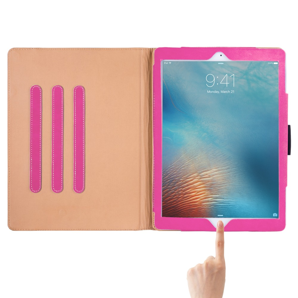 In stock magnetic Leather PU tablet cover case stand for Apple Ipad Pro 12.9 inch Pink colour