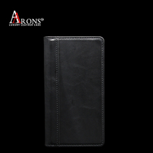 First grain leather wallet leather case for sony xperia e