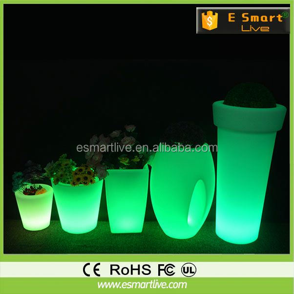 Interior Decorator rgb colorful led flower pot/modern lighting flower planter