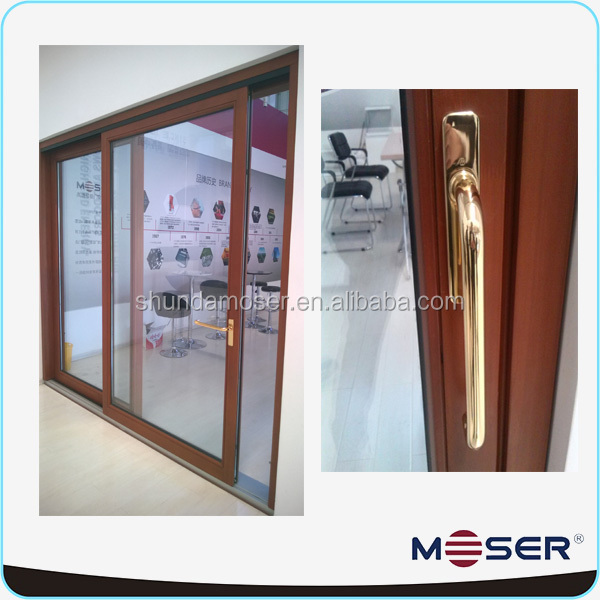 timber wood sliding door with double track imported wood doors