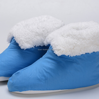 Blue Ladies Feather Filled Down Winter Indoor Slippers Shoes for Customized