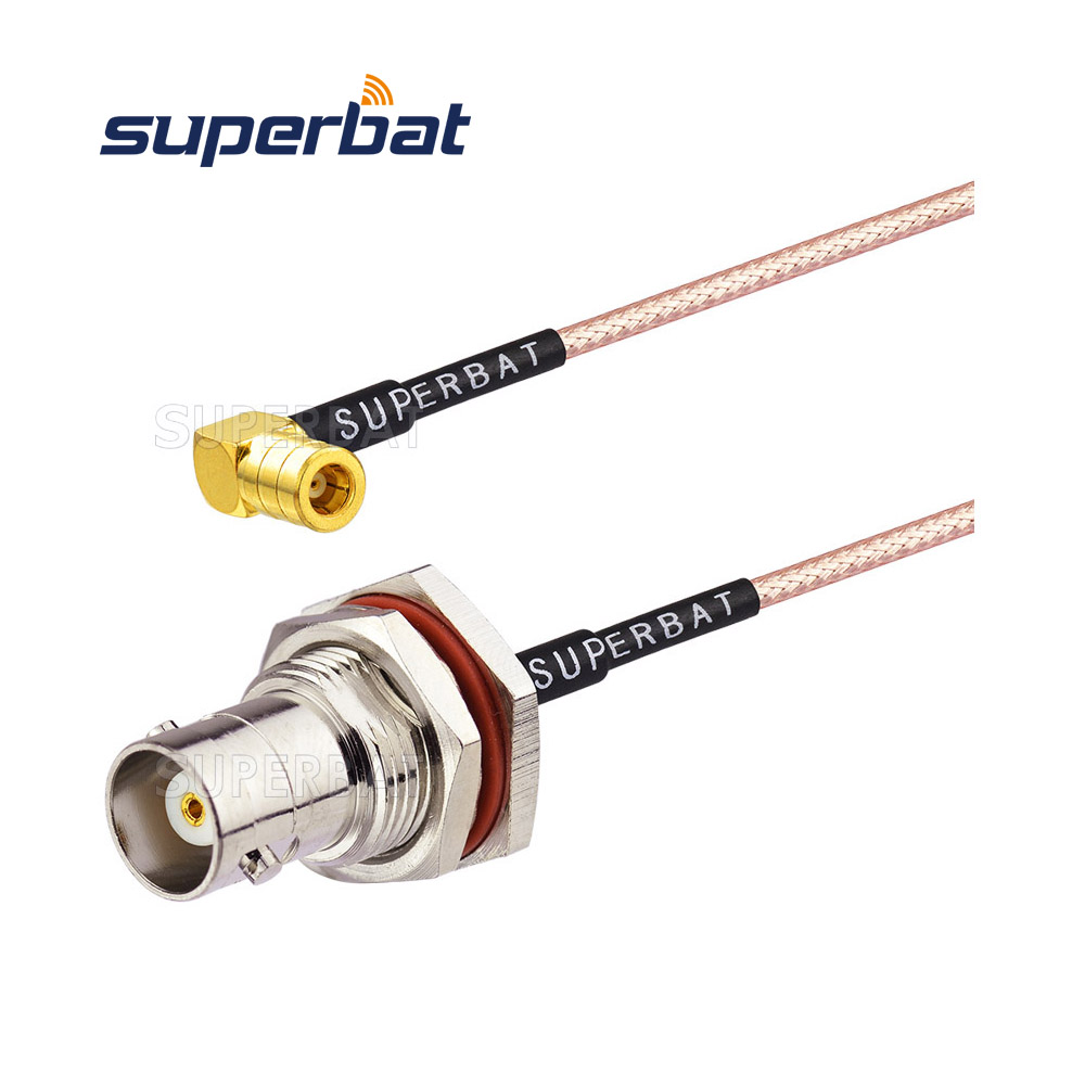 BNC female Jack to SMB Plug right angle RG316 Jumper Cable