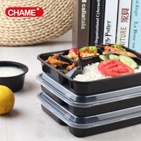 High temperature resistant 4 compartment tray disposable plastic food container