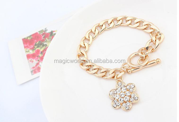 Crystal Flower Link Tassels Big Gold Chain Stylish Bracelet