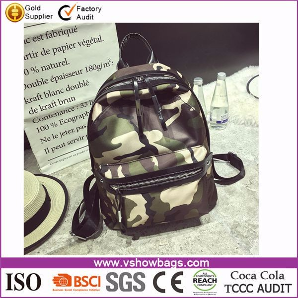 Fashion casual Polyester army green school backpack bag for travel
