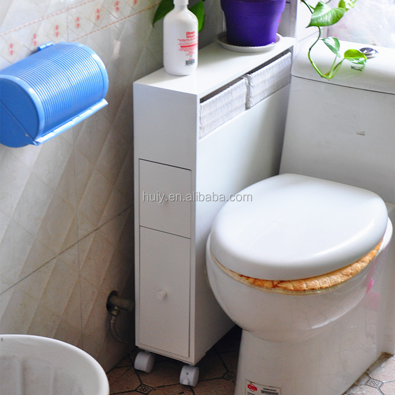 Modern White Painted Wood Bathroom Floor Cabinets With