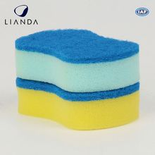 Dish and bowl scrubbing kitchen sponge, different color nylon scouring pad, non-toxic scourer foam