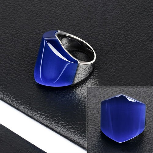 Shiny Stainless Steel Lucky Stone Finger Ring(DR10110)