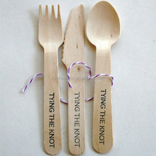 Disposable Party Banquet Custom Printed Wood Knife Fork Spoon