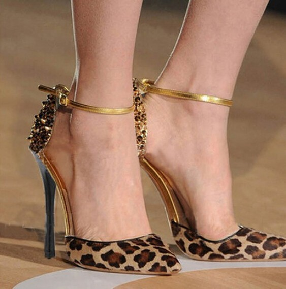 D16574A 2015 splicing color high heel shoes , sexy leopard high heel shoes,night club high heel shoes