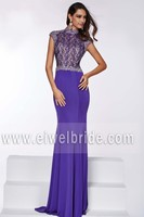 Elegant High Collar Keyhole Back Chiffon Evening Dress Online Shopping ang001