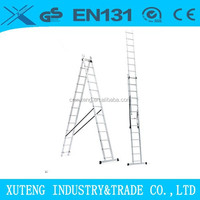Aluminium lightweight double section extension ladder,extendable ladder,self supporting ladder