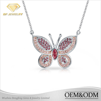 New arrival fashion pendant necklace jewelry 925 sterling silver micro pave cz butterfly pendant long chain butterfly necklace