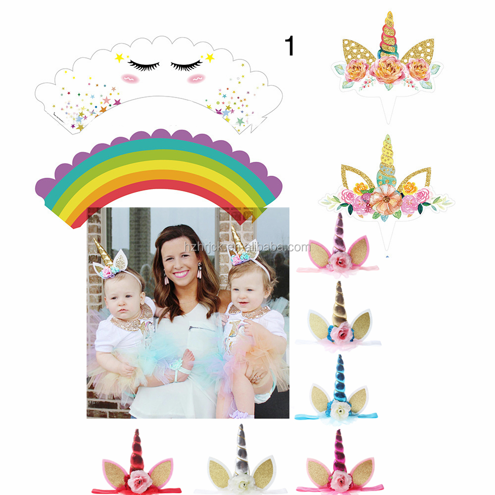 24 Pack Unicorn Cupcake Toppers and Wrappers Rainbow Unicorn Birthday Party Unicorn Cupcakes