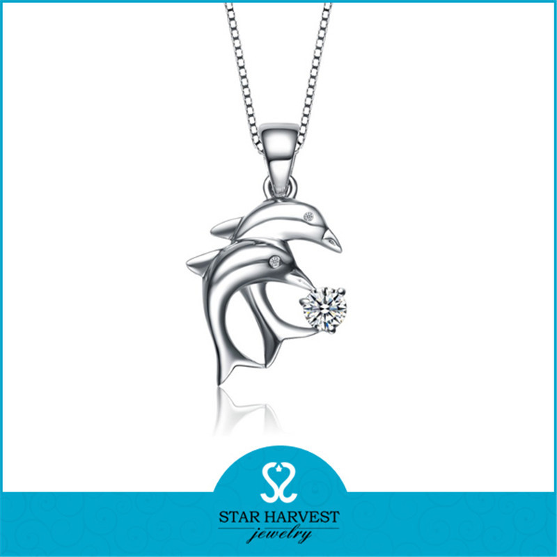 New Arrival Double Dolphine Animal Sterling Silver Necklace Pendant