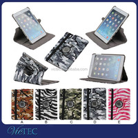 Stylish top quality camouflage pattern 360 degree rotation smart leather case for iPad mini