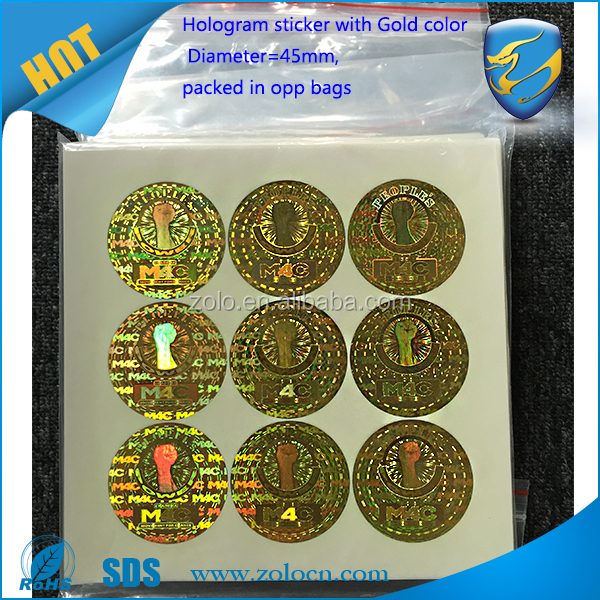shenzhen zolo packaging alibaba manufacturer 3D laser hologram seals sticker