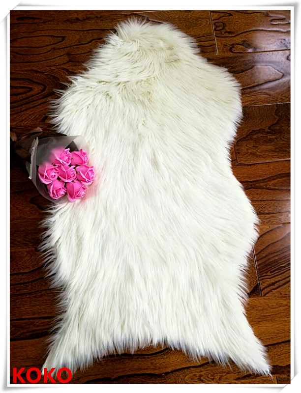 faux fur floor mat with suede backing