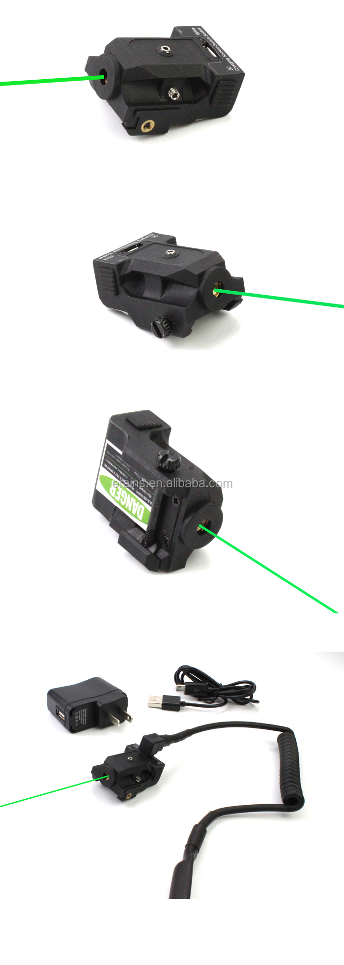 New Improved Design Tactical Sub compact rechargeable pistol green laser sight with tail pad switch