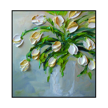 Handpainted modern triptyches group abstract white flower oil paintings for home decoration