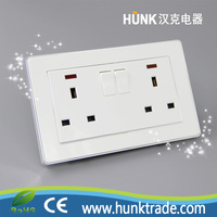 led light double 2 gang British 13A switch socket push button electrical wall switch brand